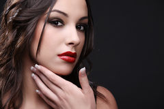 Red lipstick. Royalty Free Stock Images