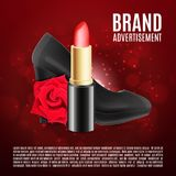 Red lipstick ads template Royalty Free Stock Photos