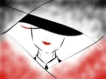 Red Lipstick with a Black Suit royalty free illustration