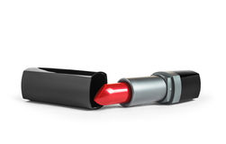 Red lipstick in a black tube Stock Images