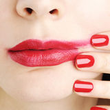 Red lipstick blur smear Stock Photography