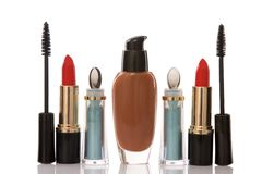 Red lipstick and cosmetics, beauty concept Royalty Free Stock Images
