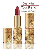 Red Lipstick cosmetics realistic Mock up Vector. Matt lipgloss with ornament decor, golden packaging original design. Gold colors Royalty Free Stock Photo