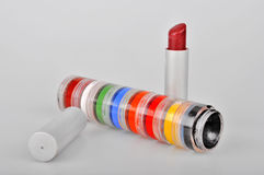 Red lipstick and eye shadows Stock Photo