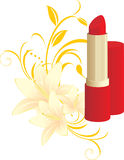 Red lipstick and floral ornament with lilies Royalty Free Stock Image