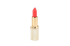 Red lipstick in gold case Stock Image
