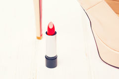 Red lipstick with high heel shoes Royalty Free Stock Photography