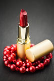 Red lipstick and jewelry Royalty Free Stock Images