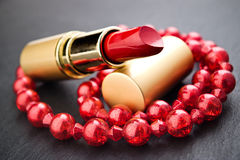 Red lipstick jewelry Royalty Free Stock Image