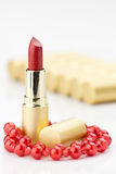 Red lipstick with jewelry Royalty Free Stock Photography