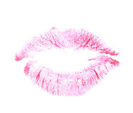 Red lipstick kiss mark isolated. Over the white background Stock Images