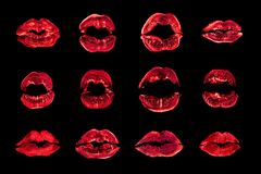 Red lipstick kiss print set black background isolated close up, neon light sexy lips mark makeup collection, pink female kisses