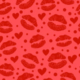 Red lipstick kiss seamless pattern Stock Images