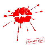 Red lipstick marks with splashing design Royalty Free Stock Photo