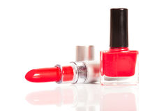 Red lipstick and nail polish Royalty Free Stock Images