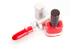 Red lipstick and nail polish Stock Images