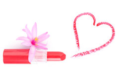 Lipstick and heart. Love concept. Royalty Free Stock Photo