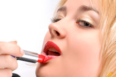 Red lipstick and red lips Royalty Free Stock Photo