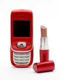 Red lipstick & red phone Royalty Free Stock Photo