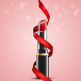 Red lipstick with red ribbon on abstract background, vector design. Illustration, eps10 Royalty Free Stock Images