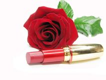 Red lipstick with rose on background. Red lipstick in gold box with damask rose on background royalty free stock photos