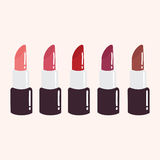 Red Lipstick Set. Flat Design Vector Illustration Royalty Free Stock Photo