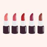 Red Lipstick Set. Flat Design Vector Illustration. Icon Royalty Free Stock Photo