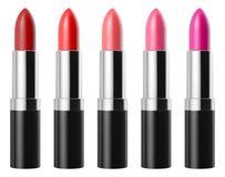 Red lipstick set isolated on white background Royalty Free Stock Image