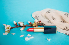 Red lipstick. Sprig with flowers of almond. Blue background. Stock Photo