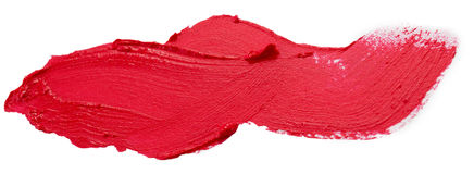Red lipstick stroke isolated on the white background Royalty Free Stock Photography