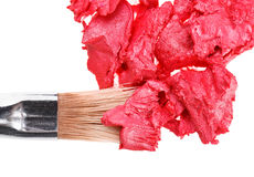Red lipstick stroke with makeup brushn whit Stock Photos