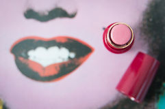 Red lipstick usage Royalty Free Stock Photos