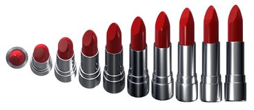 Red lipsticks rotation Stock Photo