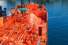Red Liquefied Petroleum Gas tanker. Does mooring operations Royalty Free Stock Photography