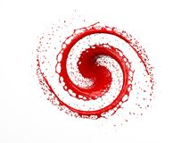Red liquid splashing in circle and drops isolated on white background. 3D rendering Stock Photography