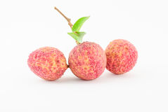 Red Litchi fruit isolated Stock Images