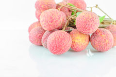 Red Litchi fruit isolated Stock Photos