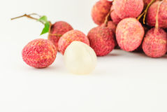 Red Litchi fruit isolated Royalty Free Stock Images