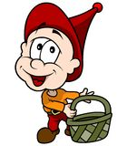 Red Little Elf With Basket Royalty Free Stock Photos