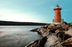 Red Little Lighthouse in Fort Washington Park, under the George Washington Bridge. New York, USA stock photo