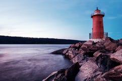 Red Little Lighthouse in Fort Washington Park, under the George Washington Bridge. New York, USA royalty free stock images
