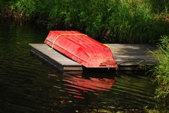 Red little row boat Royalty Free Stock Photography