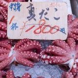 Red live octopus at Tsukiji fish market, Tokyo, Japan Stock Photography