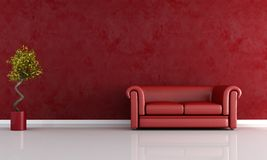 Red living room Royalty Free Stock Photos