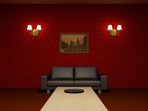 Red living room Royalty Free Stock Image