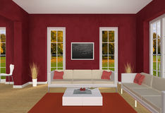Red Living room and autumn park Royalty Free Stock Photo