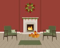 Red living room with fireplace, decorated with Christmas decorations. The room also has green armchairs with pillows, a Christmas wreath and gift boxes. Vector stock illustration