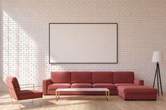 Red Living Room, Front Stock Photos