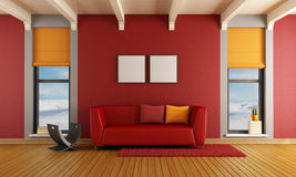 Red living room of a house in the mountains Royalty Free Stock Photos