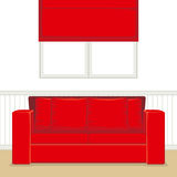 Red Living Room Stock Photo